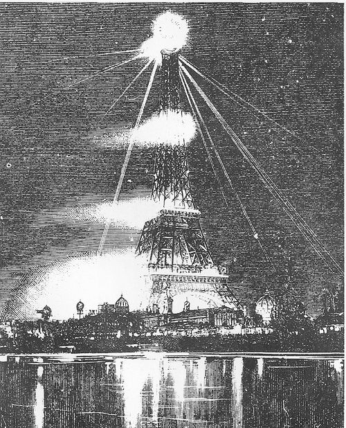 Arc lamps on the eiffel tower