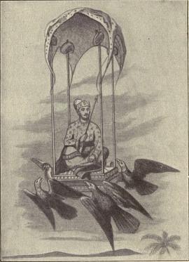 Throne of xerxes drawn through the air by four tame eagles