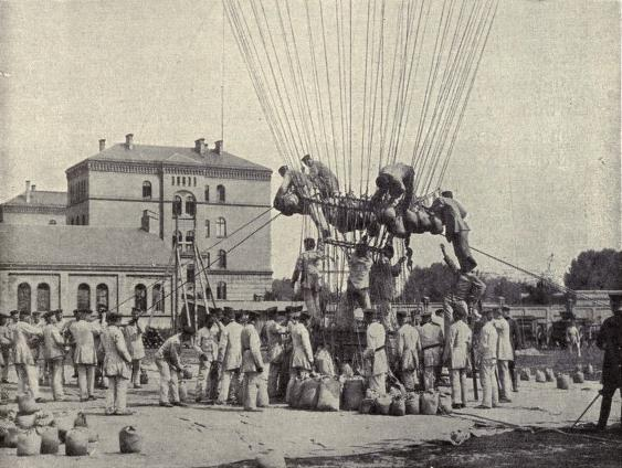 The balloon Prussia getting ready for an ascent