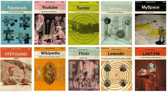 Time flies covers of retro manuals for web services
