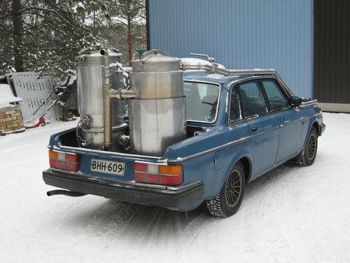 Blue volvo woodgas