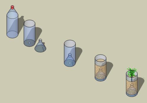 Plastic fles als container voor planten kruiden