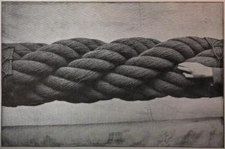 Very thick rope for steamship
