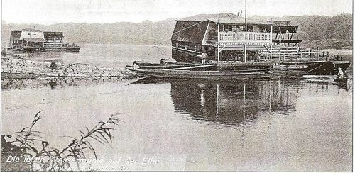 Ship mill with balcony on the elbe 1899