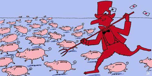 Kredietcrisis lowtech magazine illustratie door Milo