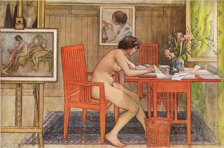 Carl_Larsson_Model_writing_postcards_1906