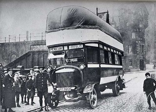 A bus powered by coal gas on Waverley Bridge during World War 1