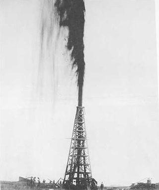 Olie spuit uit grond