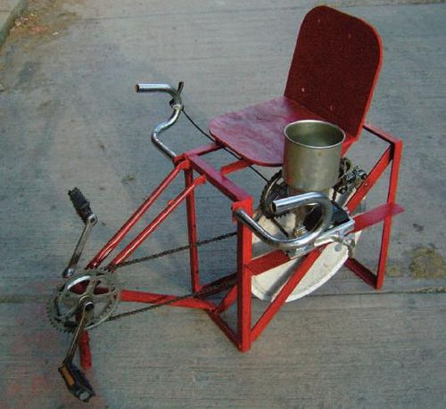 Pedal powered mill tresher2