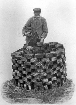 Drying peat sods