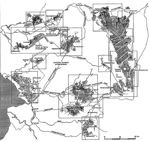Maps of canal systems in northern peat bogs the netherlands