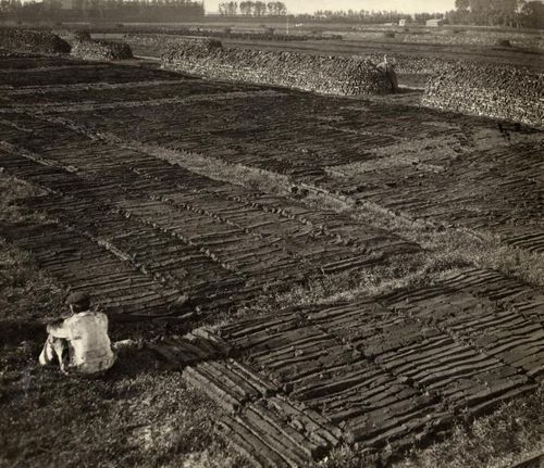 Peat mining nearby Rotterdam in 1918