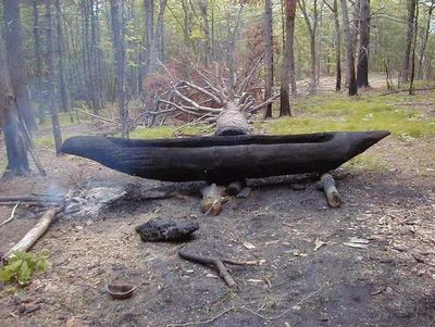 The use of fire to hollow out trees to make a canoe
