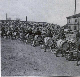 Caravan of chinese wheelbarrows in shanghai