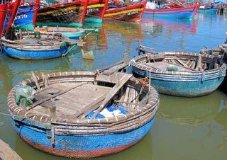 Woven bamboo tug boat