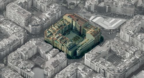 Eixample city block density