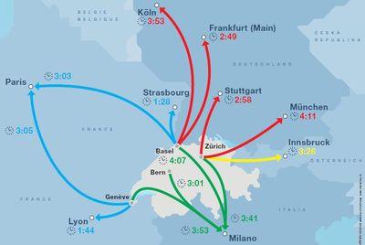 Internationale verbindingen zwitserse spoorwegen