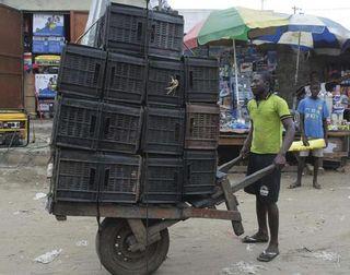 Chinese wheelbarrow in africq