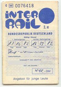 Interrailpas 1981