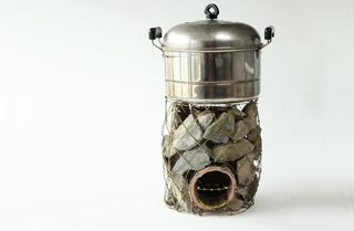 Wire hanger rocket stove