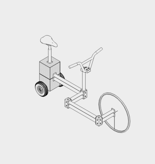 Open bakfiets met motorblok