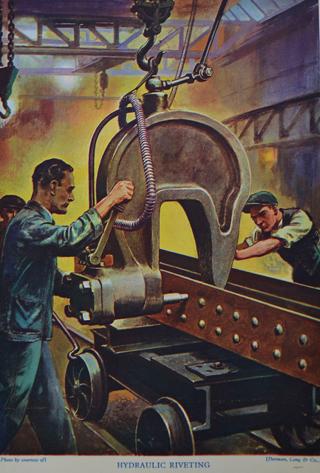 Hydraulic riveting press via old engineering