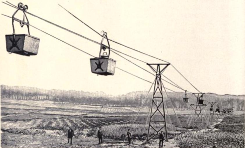 Produce carrying ropeway