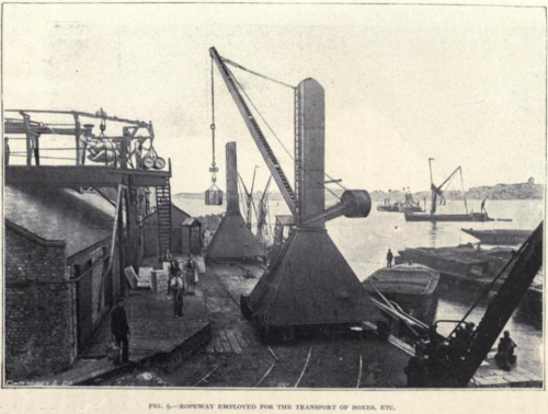 Ropeway employed for the transport of boxes etcetera