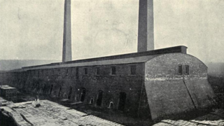 40 chamber hoffmann kiln with two chimneys