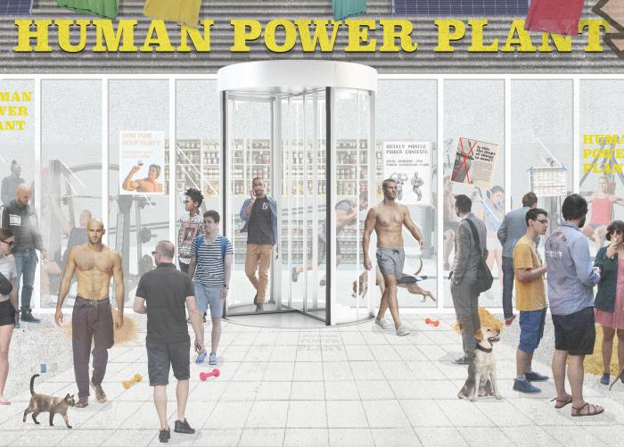 Human power plant facade