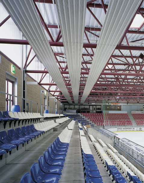 Hydronic radiant heating public sports hall