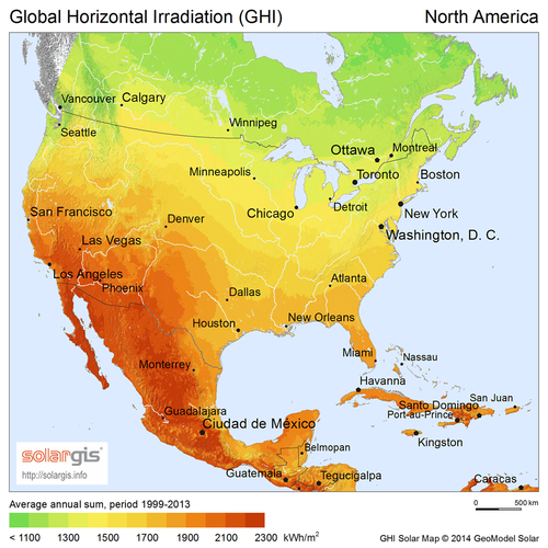 Solar insolation in north america