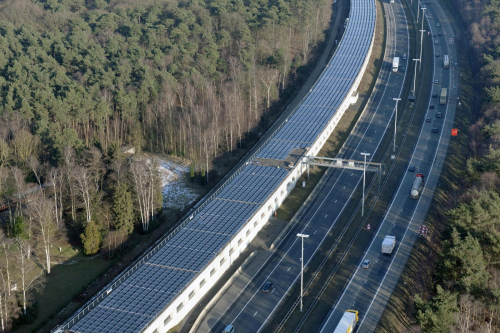 Railwat covered with solar panels in belgium infrabel