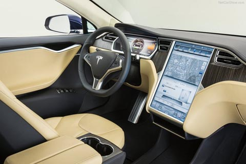 Tesla computer in dashboard