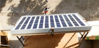 Solar panel on window sill