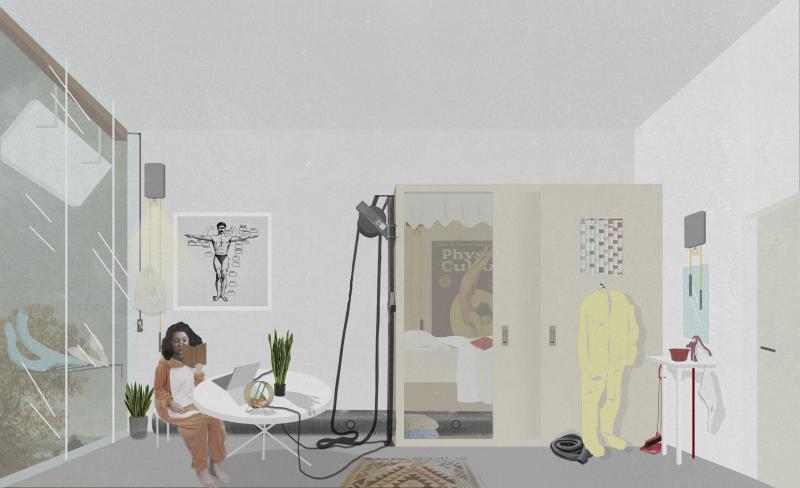 Individual room human powered van unnik building